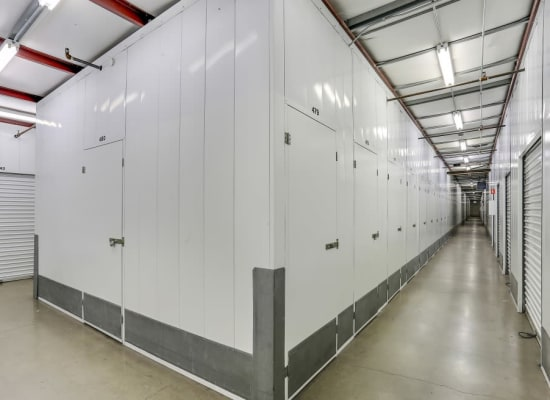 Indoor storage units at A-1 Self Storage in Santa Ana, California