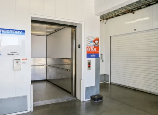 Indoor storage is easy to access with the elevator at A-1 Self Storage in North Hollywood, California