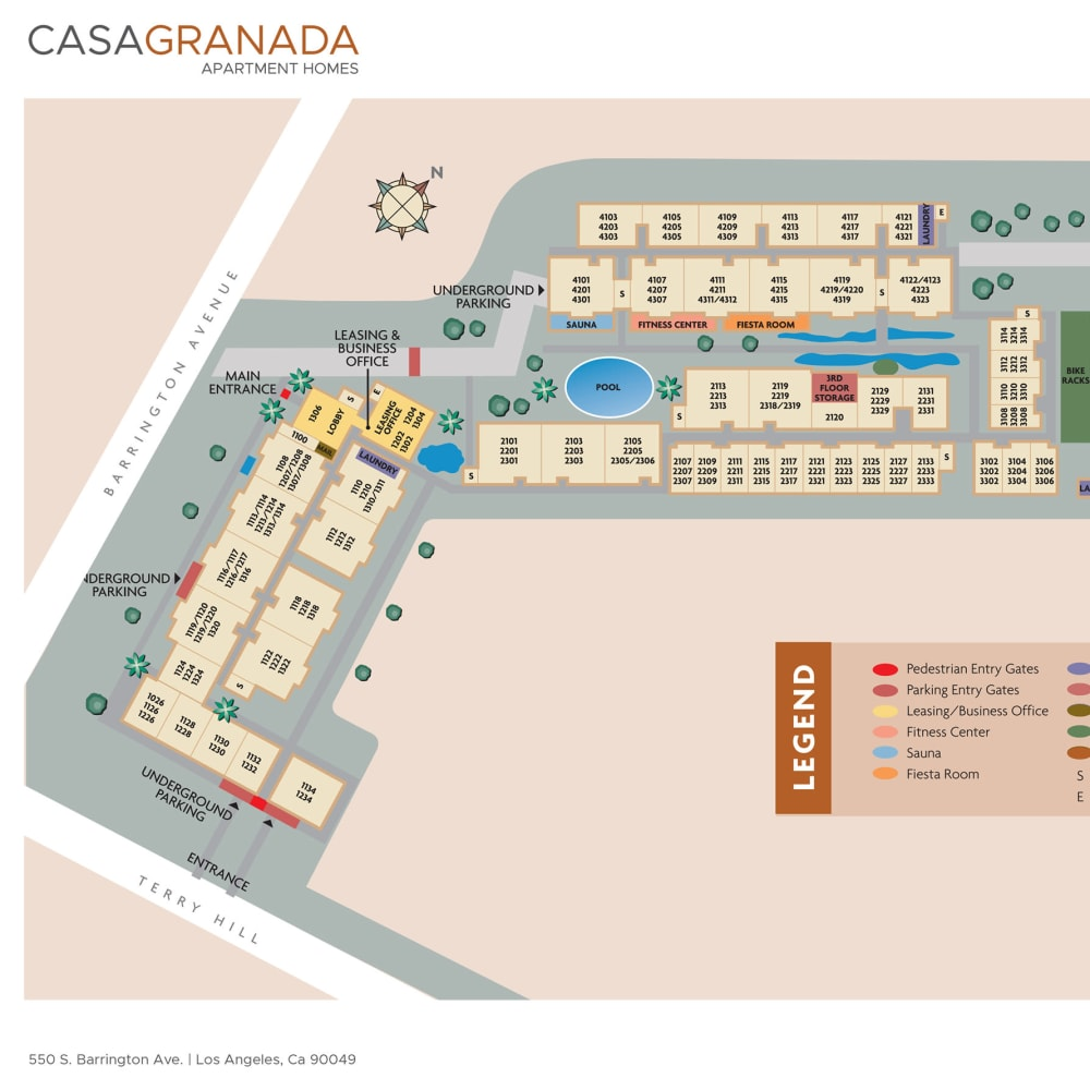Overall community site plan for Casa Granada in Los Angeles, California