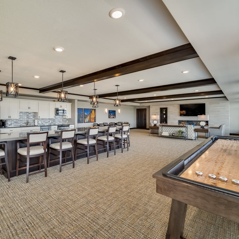 Community kitchen at Applewood Pointe of Maple Grove at Arbor Lakes in Maple Grove, Minnesota.