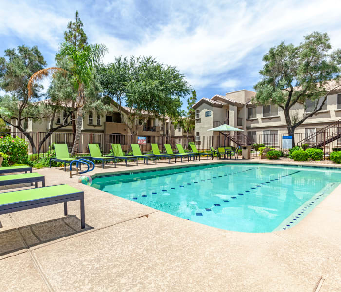 Beautiful swimming pool area at Lumiere Chandler in Chandler, Arizona