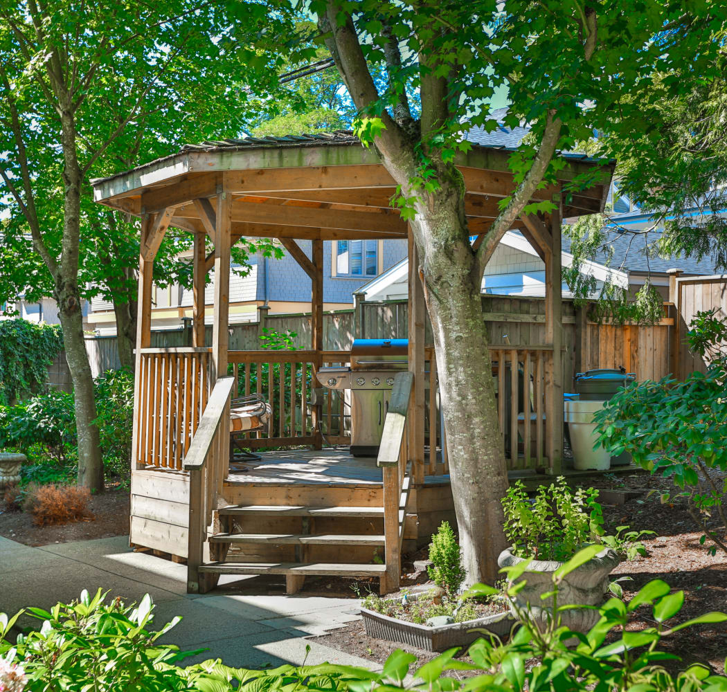 Beautiful gazebo at Larchway Gardens in Vancouver, BC
