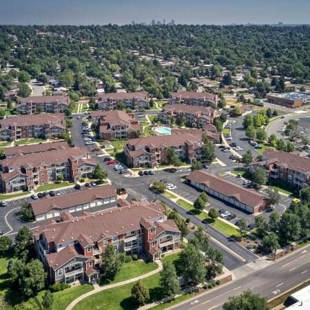 aerial view of buildings and surrounding area at Bear Valley Park in Denver, Colorado