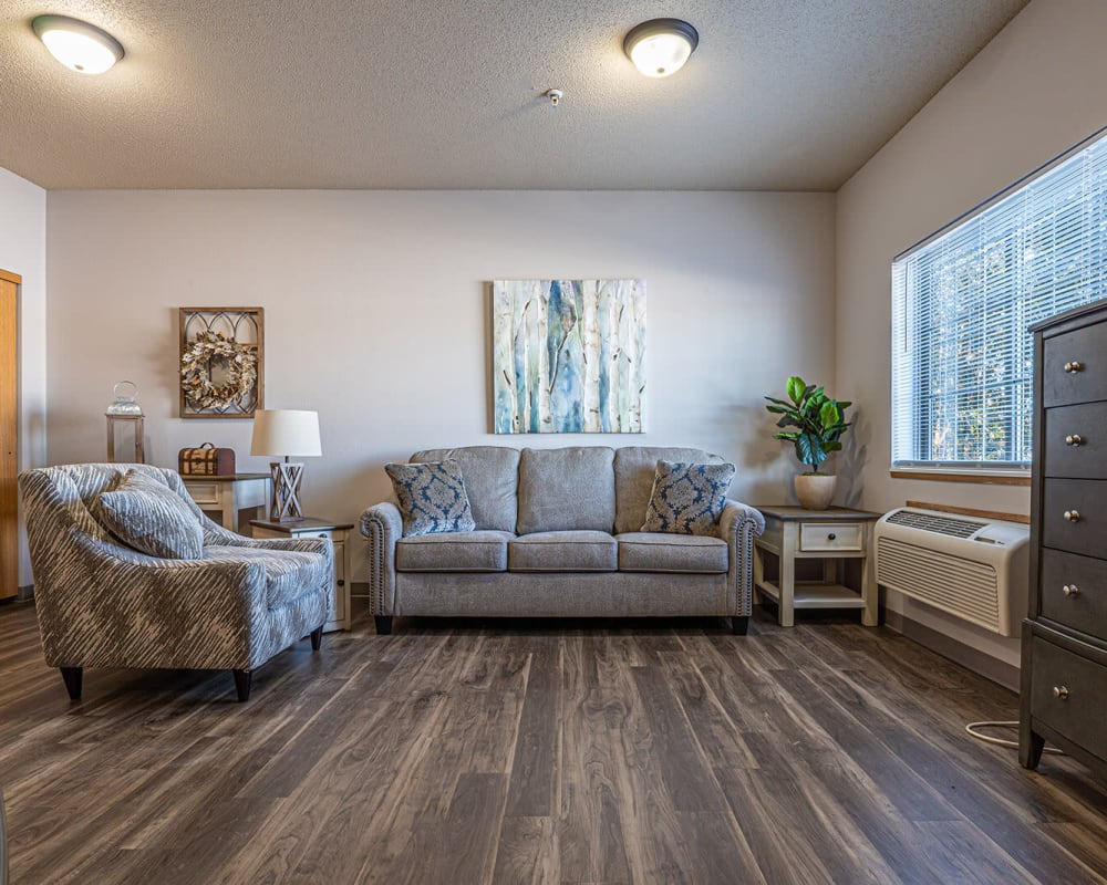 Spacious floor plans with a full living room and hardwood flooring at Traditions of Owatonna in Owatonna, Minnesota.
