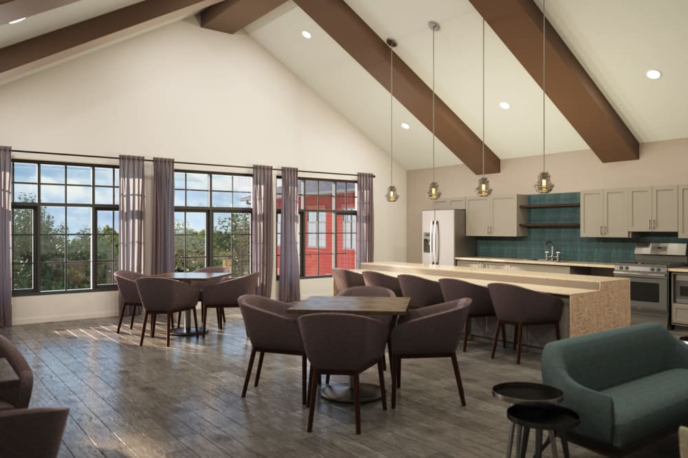 Community room with lounge seating at Anthology of Midlothian in North Chesterfield, Virginia