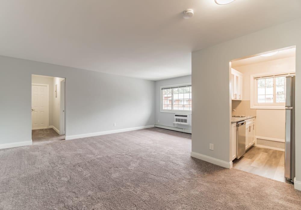 A spacious master bedroom at Eagle Rock Apartments at Mineola