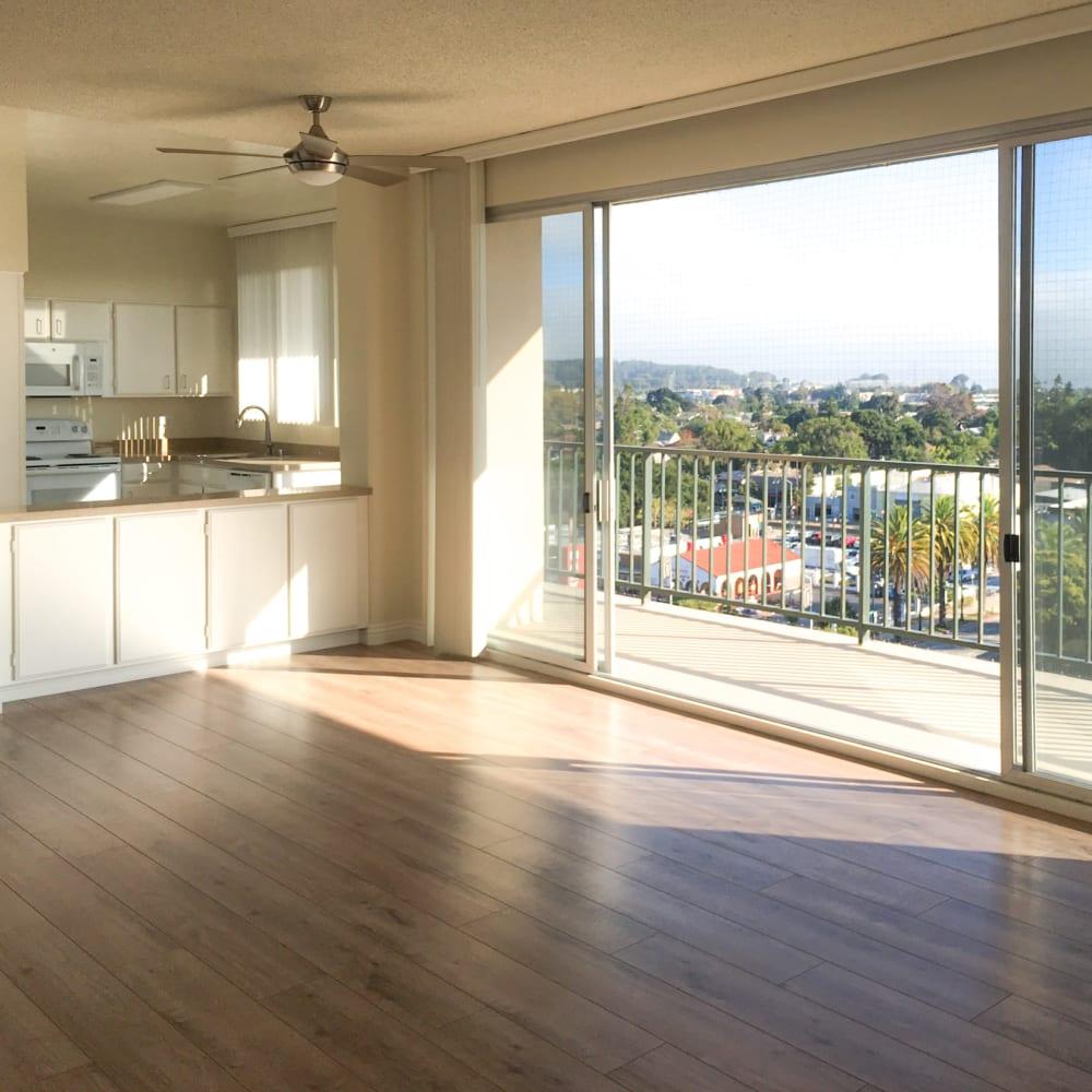 Wood-style flooring at Hillsborough Plaza Apartments in San Mateo, California