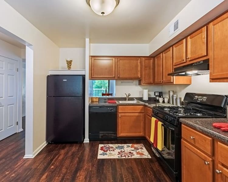 Upgraded kitchen at The Cascades Townhomes and Apartments in Pittsburgh, Pennsylvania