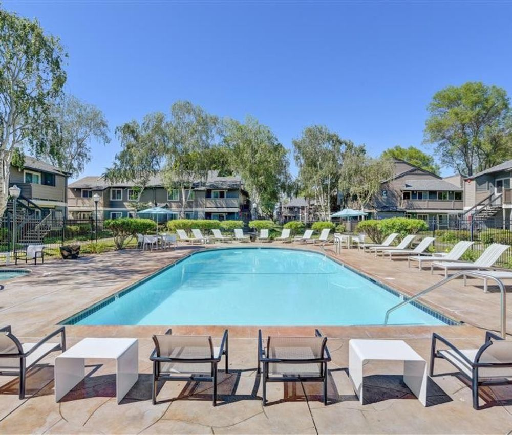 Another sunny day at the resort-style swimming pool at Sofi Union City in Union City, California