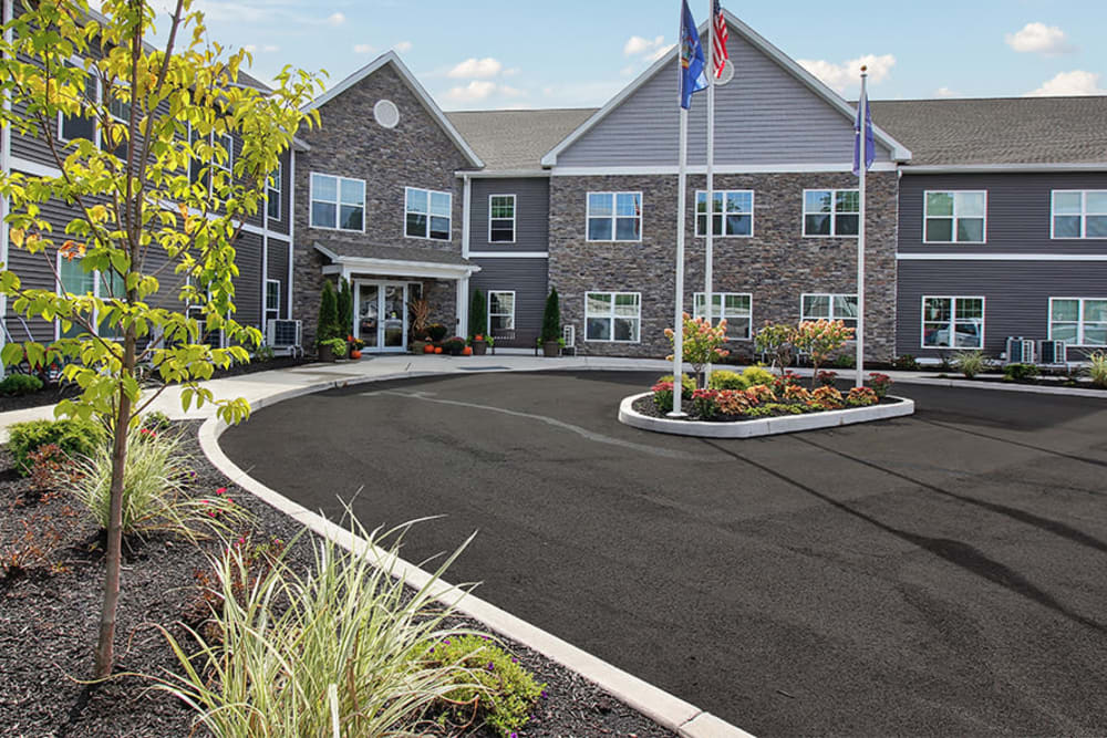 Exterior of Village Heights Senior Apartments in Fairport, New York