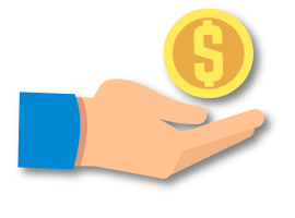 Hand and money graphic