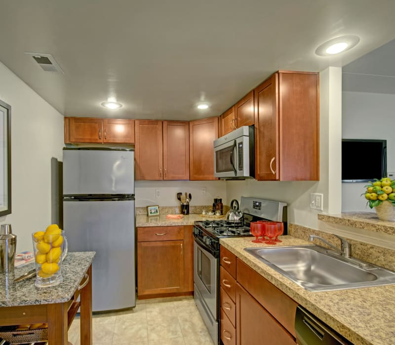Bright, spacious kitchen at Racquet Club Apartments and Townhomes in Levittown, Pennsylvania