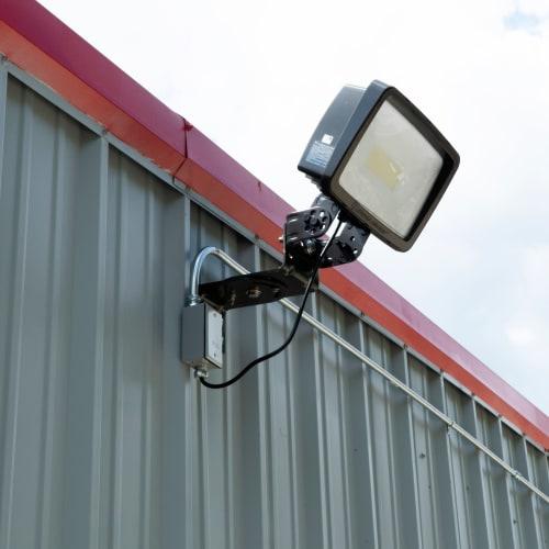 Bright exterior lighting at Red Dot Storage in Trenton, Michigan