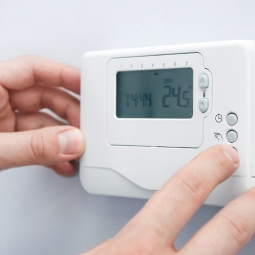Thermostat for climate control at Red Dot Storage in Pensacola, Florida