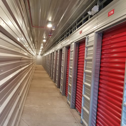 Indoor storage units at Red Dot Storage in North Aurora, Illinois