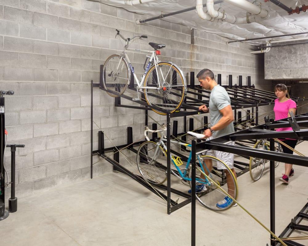 Bike storage room at Marvel 29 in Portland, Oregon