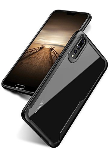 Bounceback ® (Robust Series) Huawei P20 Pro Cover Case Shock Proof Anti Slip Clear Transparent Soft TPU Back Cover Case for Huawei P20 Pro – Charcoal Black