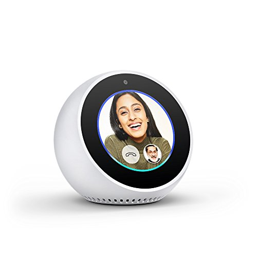 Echo Spot – Stylish echo with a screen, Make video calls, Voice control your music, news, weather & more – White
