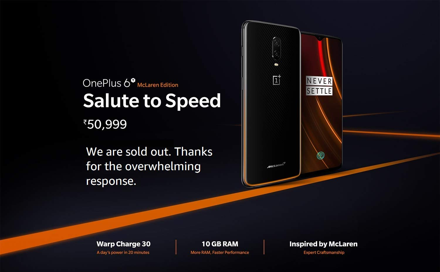 OnePlus 6T McLaren Edition Will go on Sale in Amazon