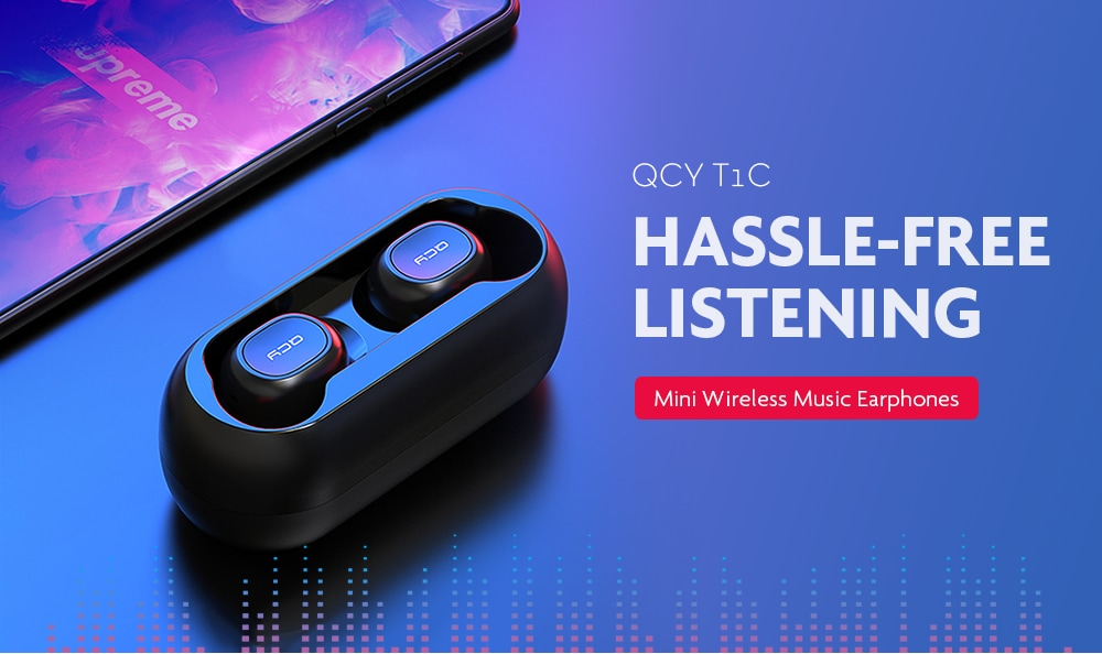 Get 15% OFF on QCY T1C Mini Bluetooth 5.0 Wireless Music Earphones – Black