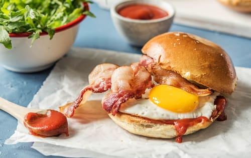 Bacon, egg & tomato relish on a brioche bun or Gluten Free Bun - Luna's Food & Wine Bar