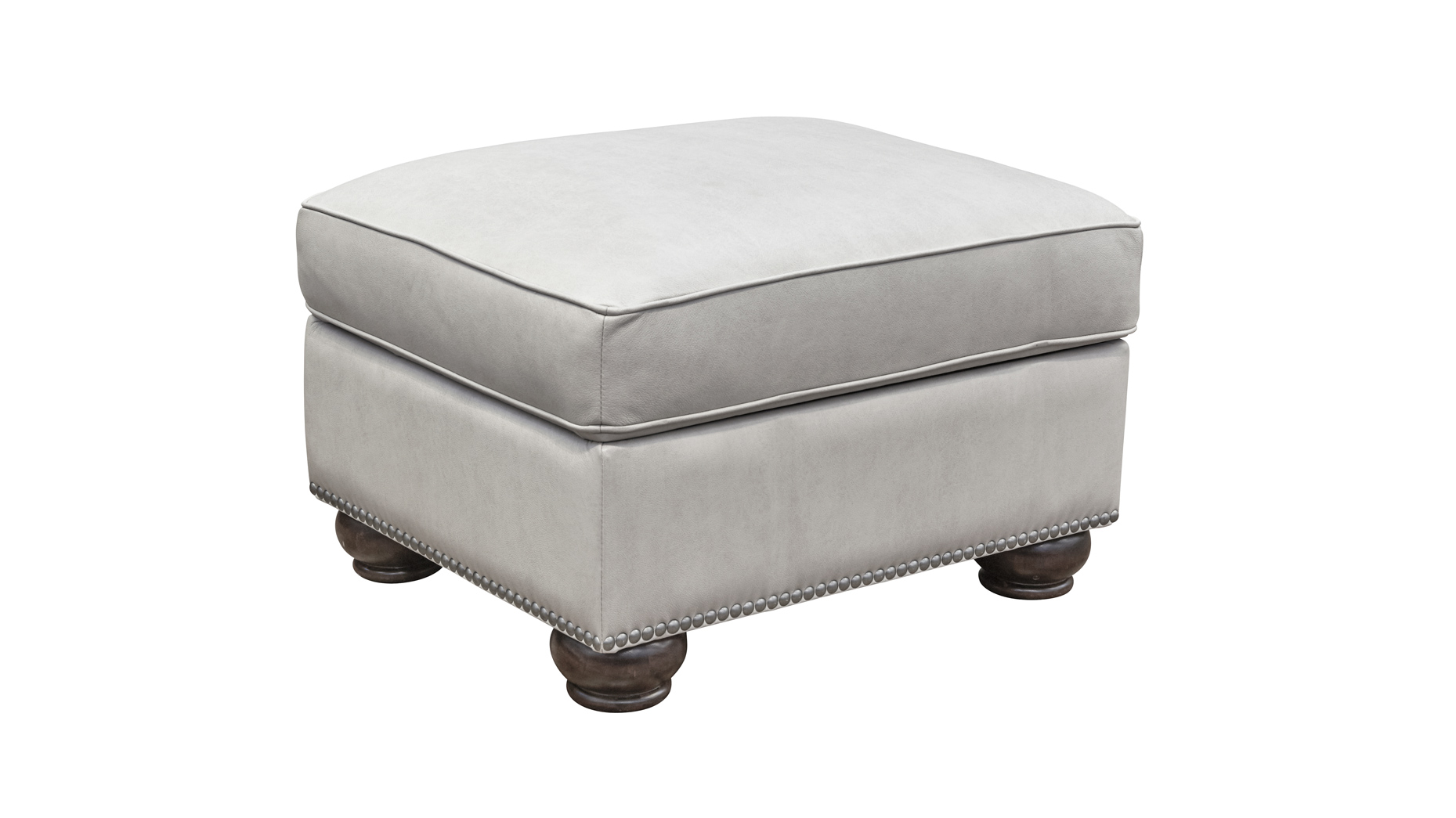Round Rock Pumice Leather Ottoman, , hi-res