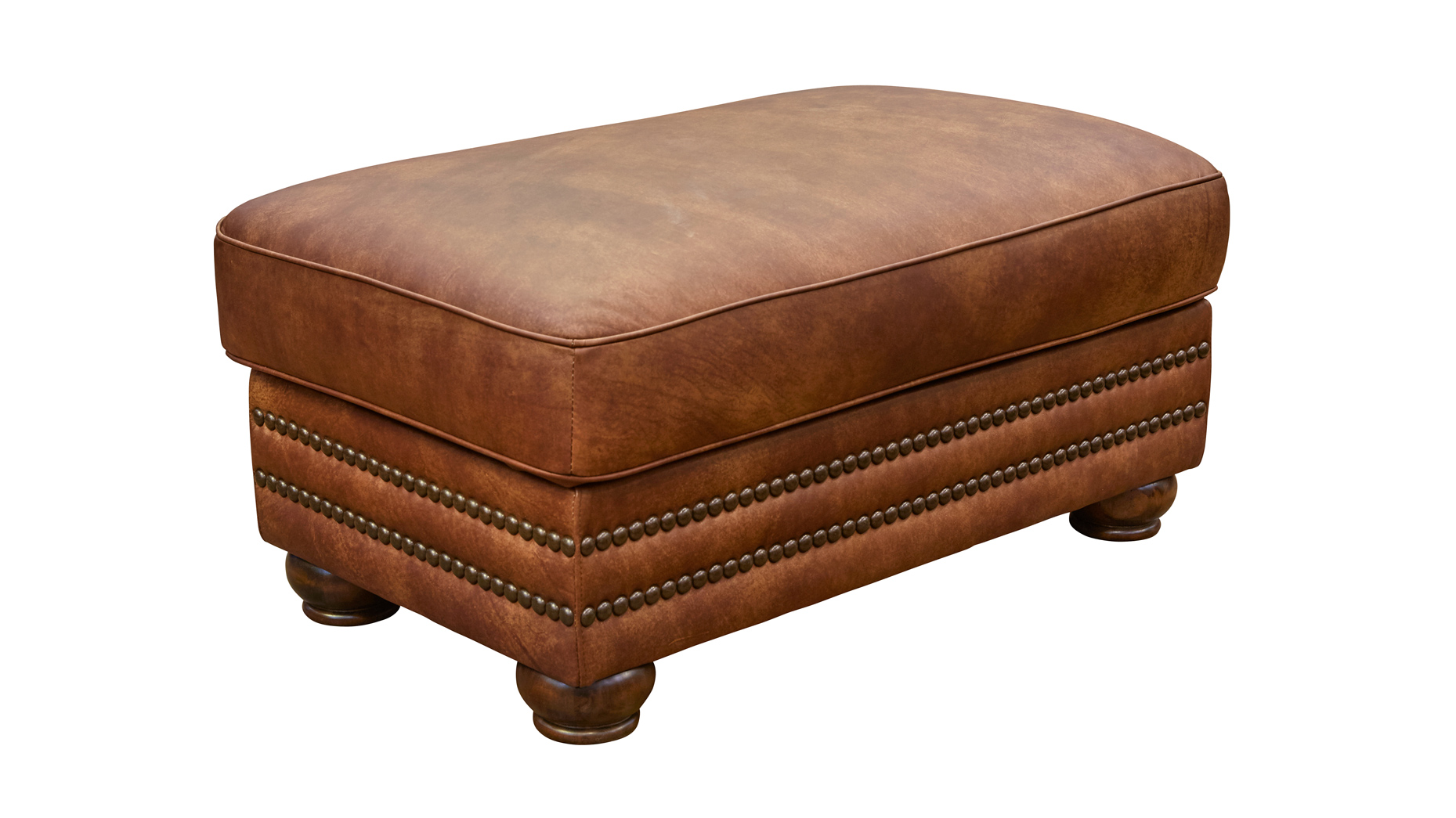 Carnegie Fawn Leather Ottoman, , hi-res