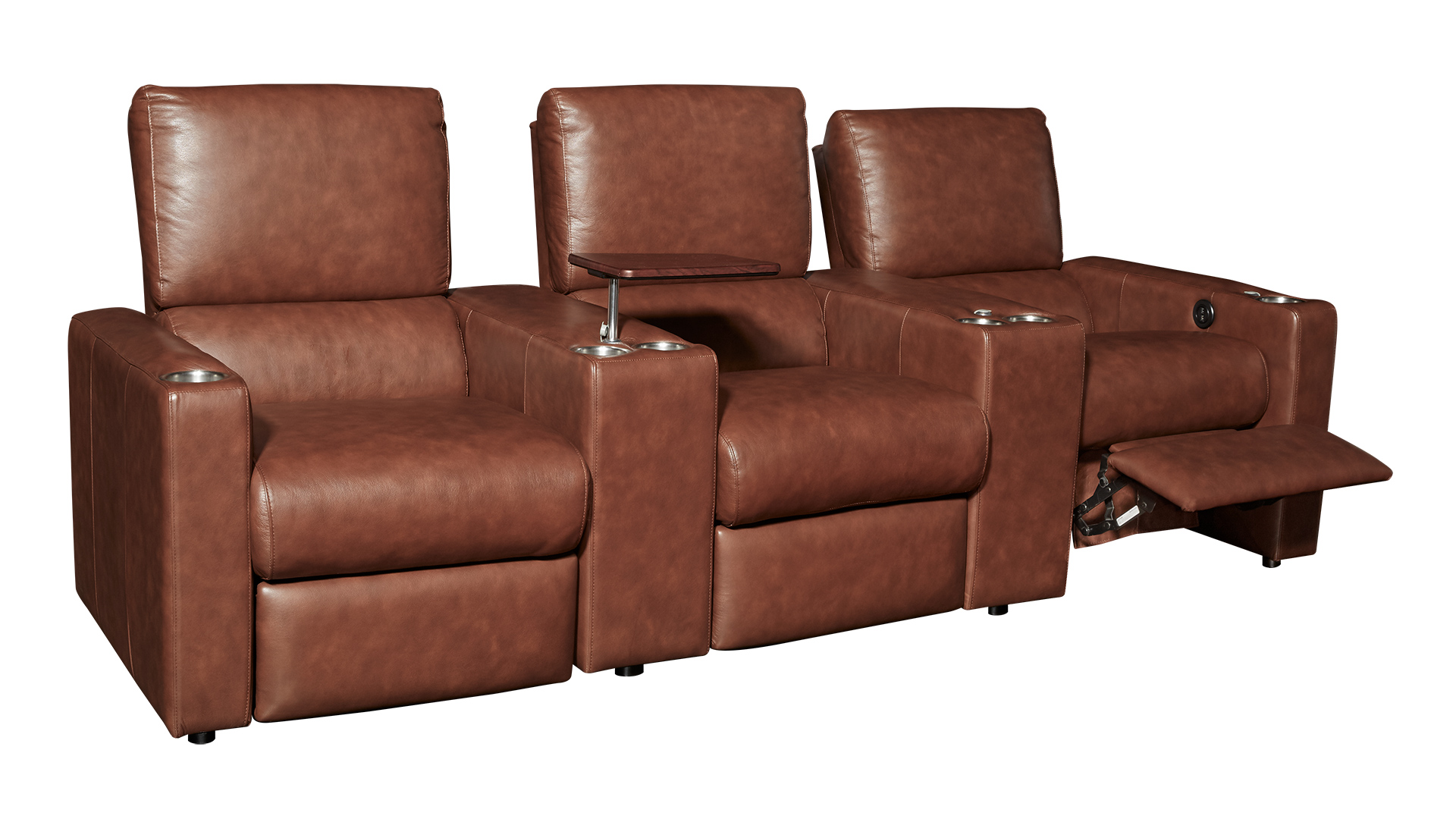 G133 Maple Leather Power Reclining Home Theater Seating, 3-Piece Set, , hi-res