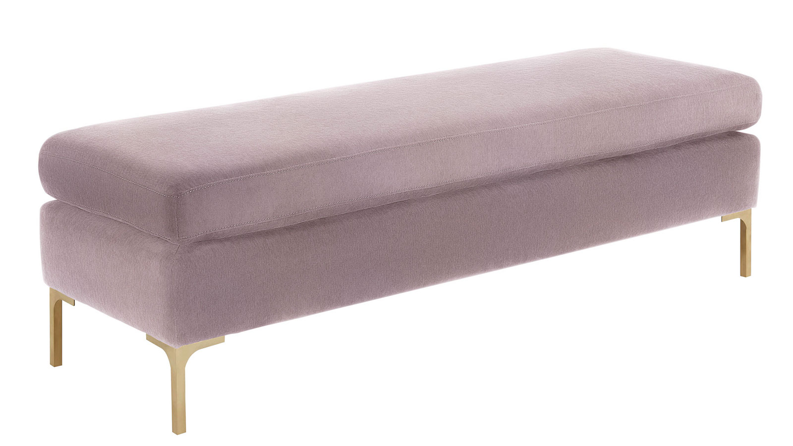 Delilah Blush Textured Velvet Bench, , hi-res