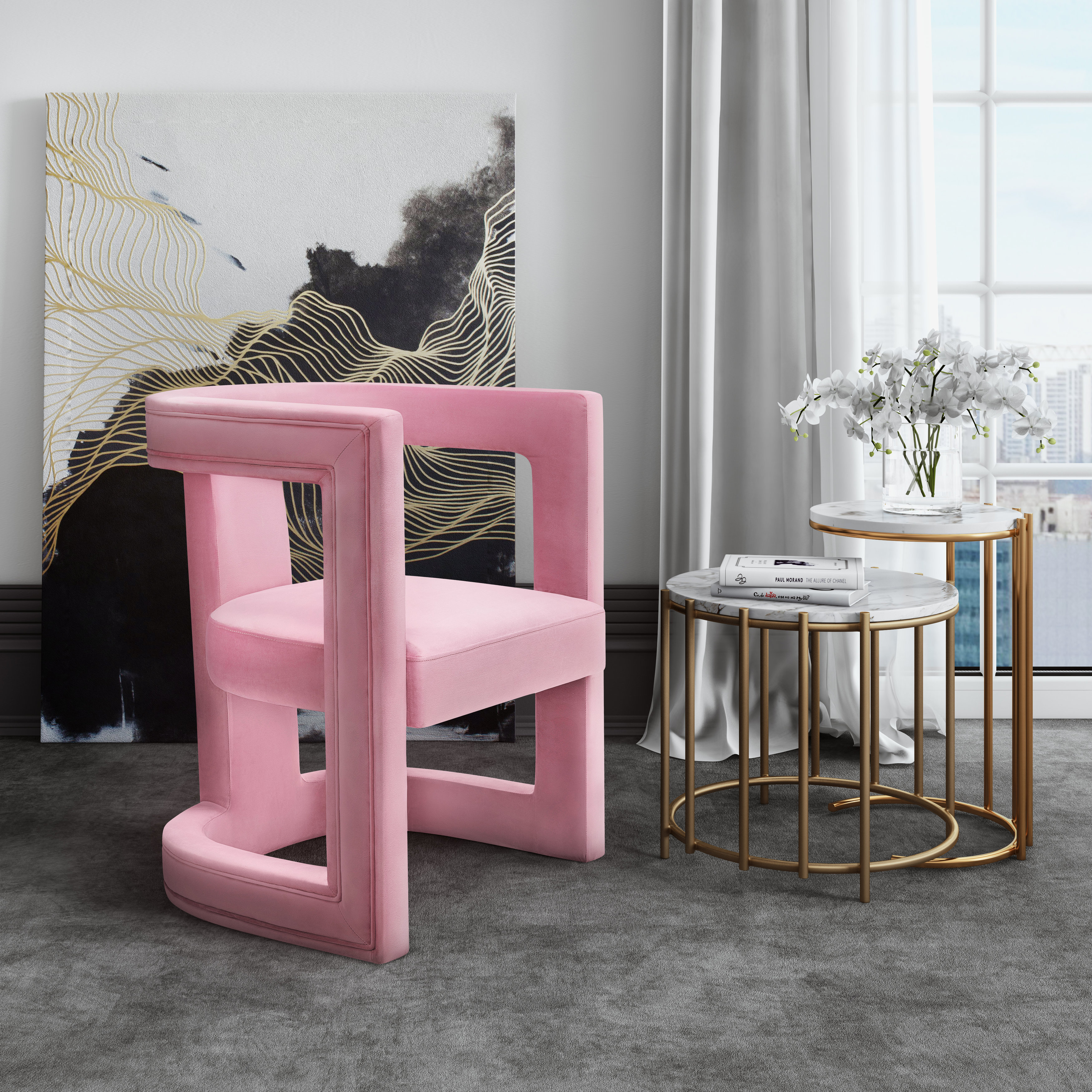 Ada Pink Velvet Chair, , hi-res