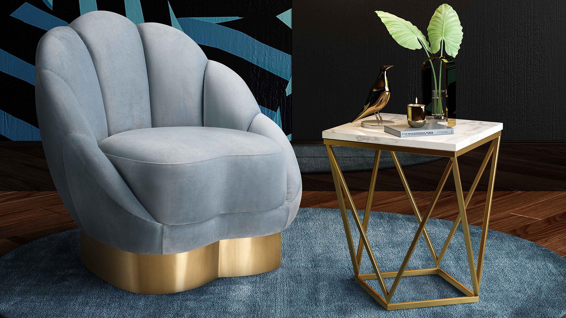 Bloom Sea Blue Velvet Chair, , hi-res