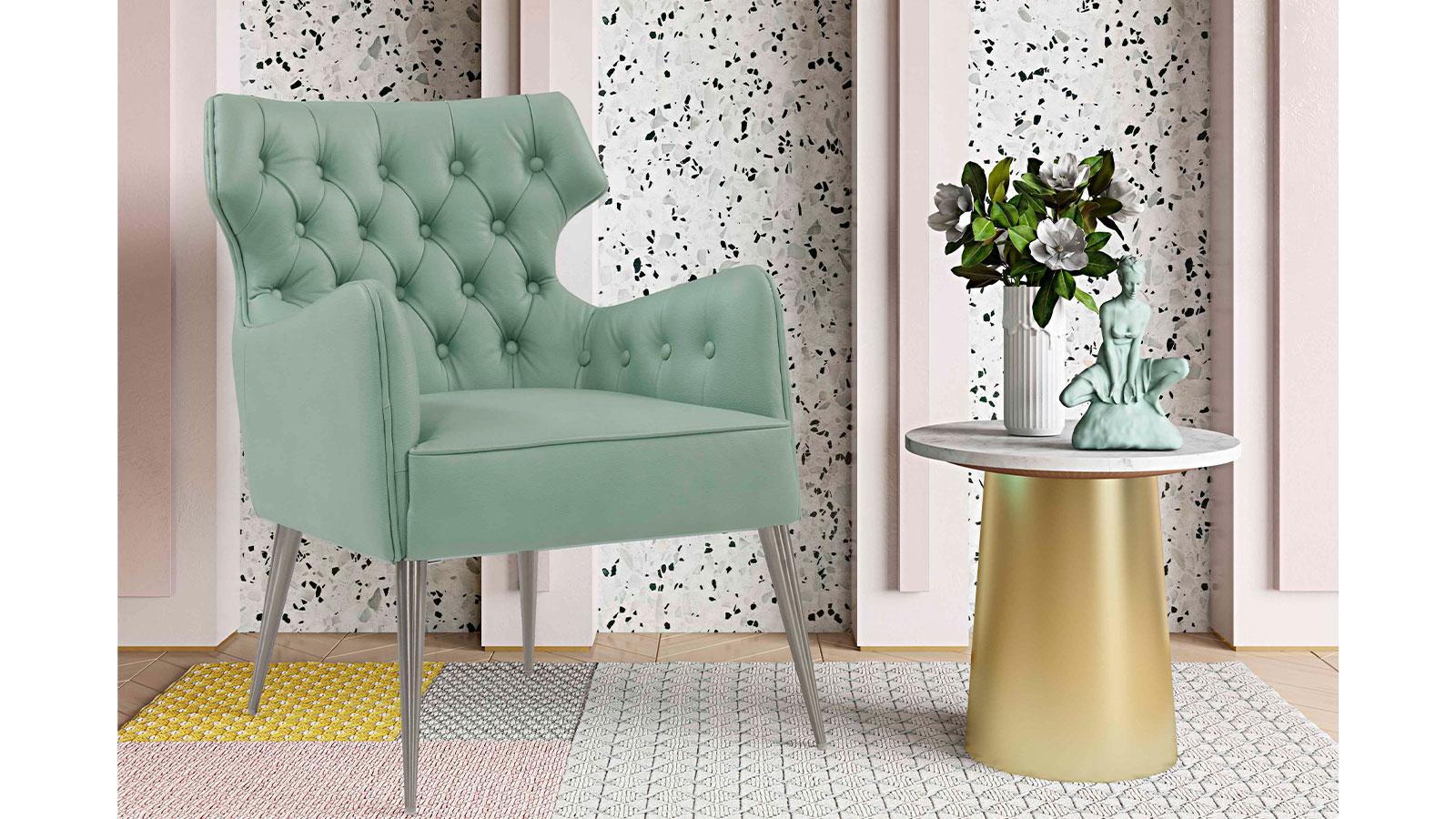 Elsa Mint Vegan Leather Chair, , hi-res