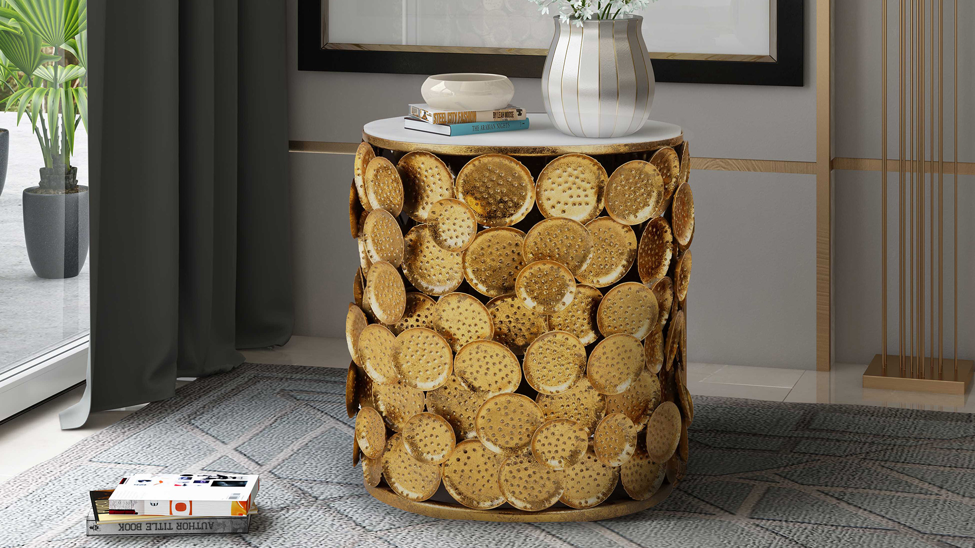 Brie Marble Side Table, , hi-res