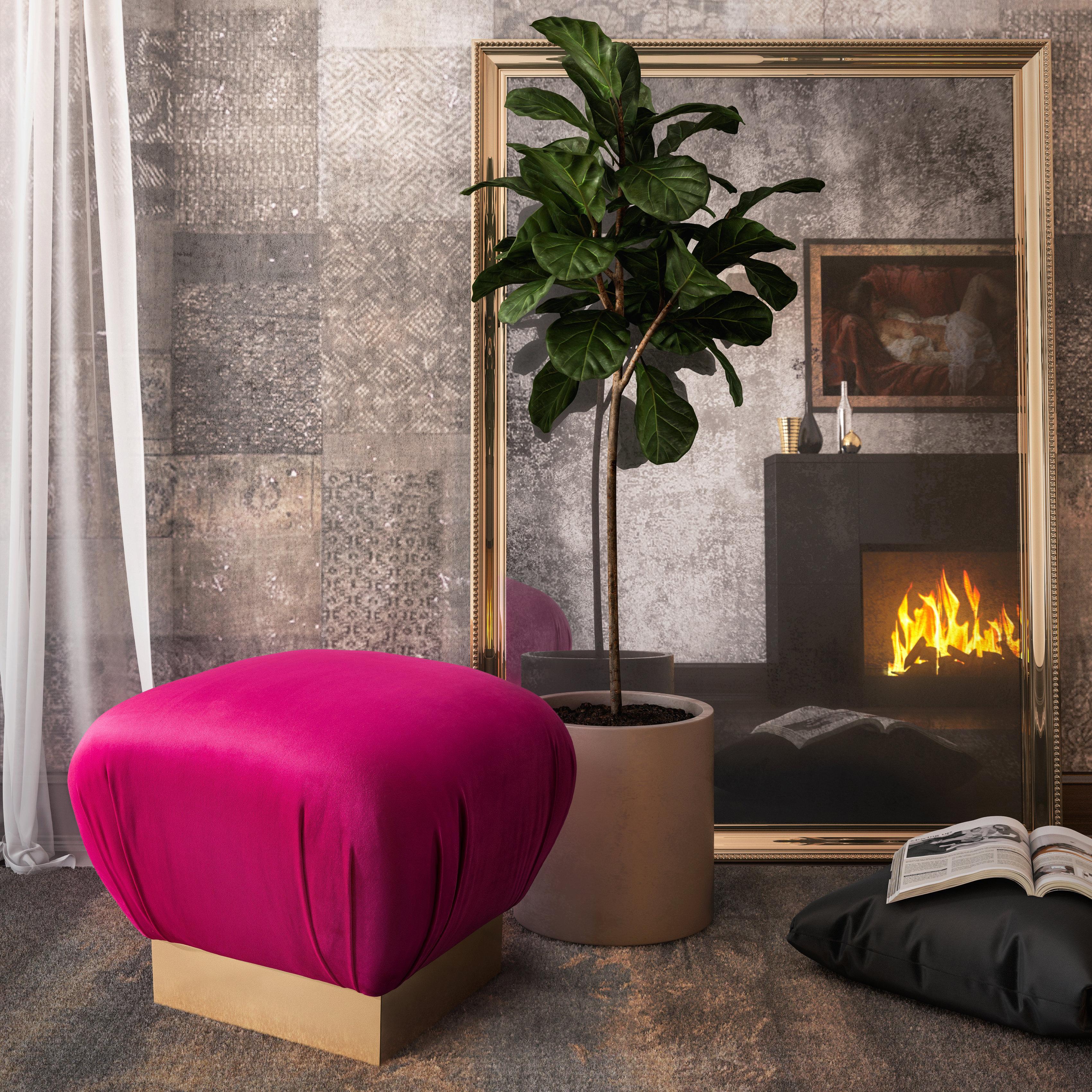 Lotus Hot Pink Ottoman, , hi-res