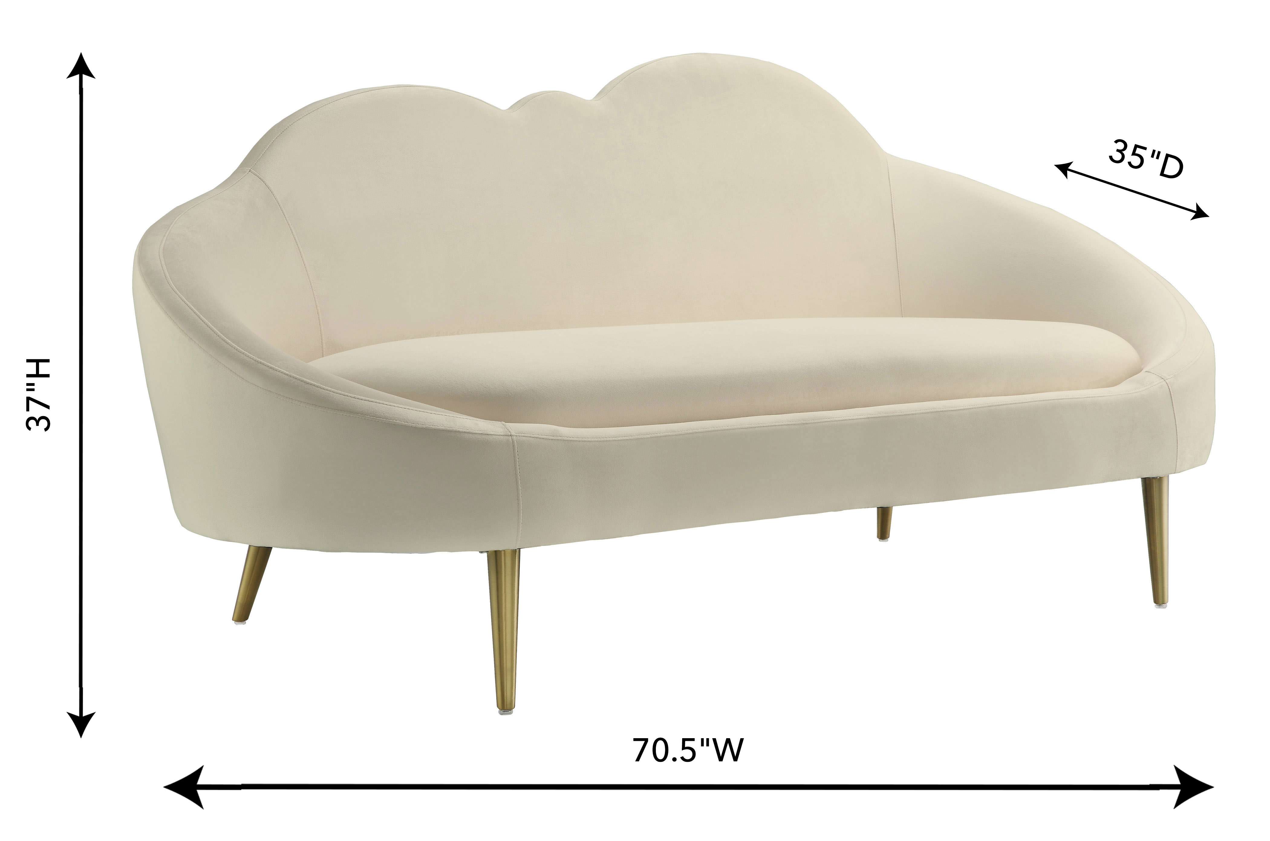 Cloud Cream Velvet Settee, , hi-res