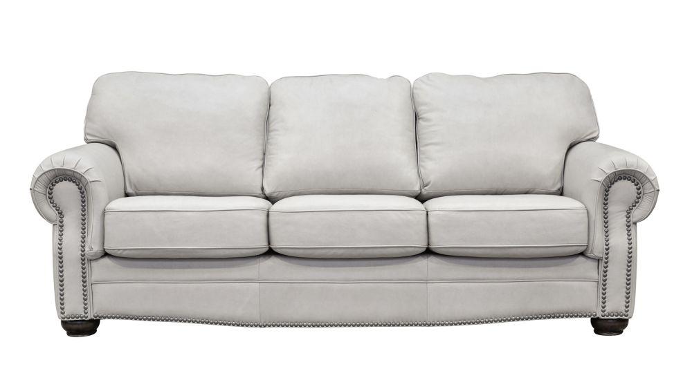 Round Rock Pumice Leather Sofa, , hi-res