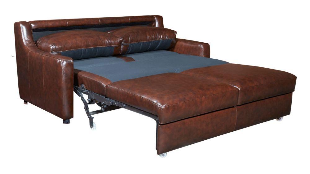 Sampora Brown Leather Queen Sleeper Sofa, , hi-res