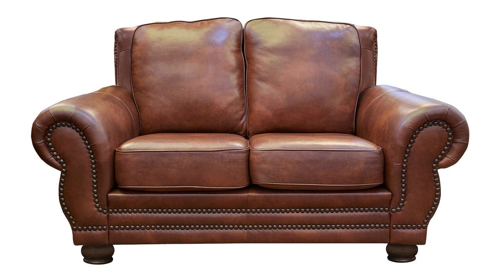 Carnegie Summer Oak Leather Love Seat, , hi-res