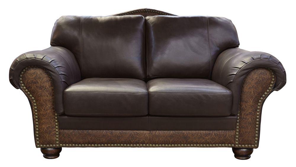 Chaparral Dark Roast Leather Love Seat, , hi-res