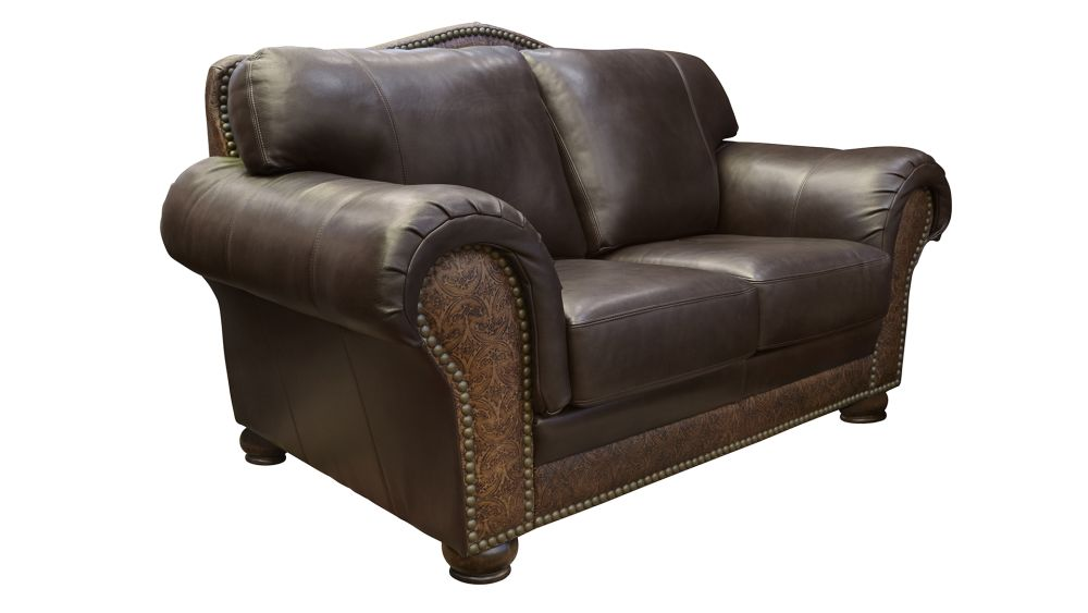 Chaparral Dark Roast Leather Love Seat, , hi-res