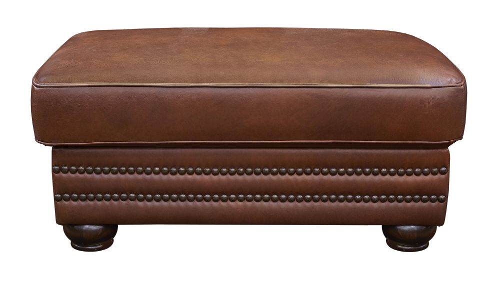Carnegie Summer Oak Leather Ottoman, , hi-res
