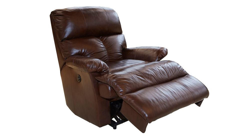 Trinton Brown Power Leather Recliner, , hi-res