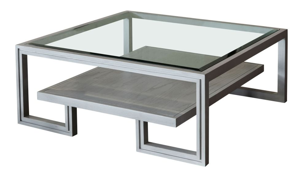 Presidio Fog Grey Cocktail Table w/Glass Top, , hi-res