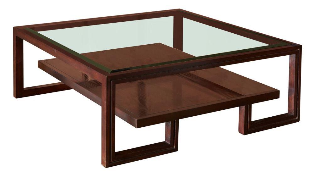 Presidio Brown Cocktail Table w/Glass Top, , hi-res