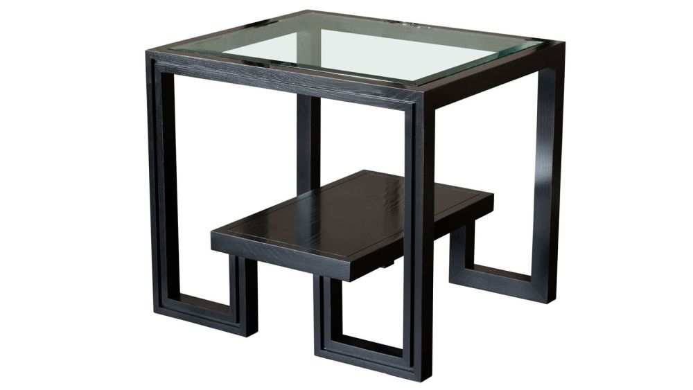 Presidio Dark Grey End Table w/Glass Top, , hi-res