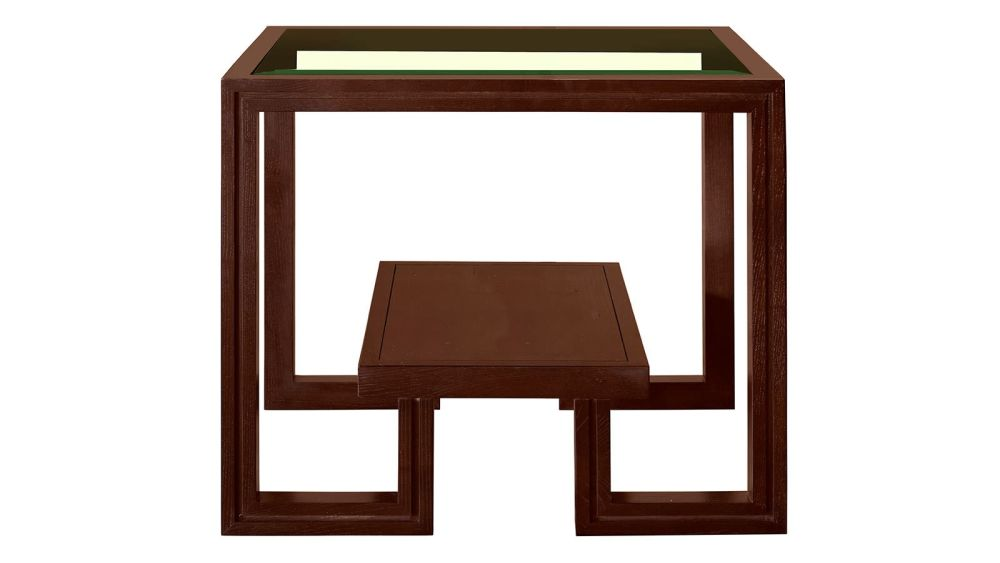 Presidio Brown End Table w/Glass Top, , hi-res