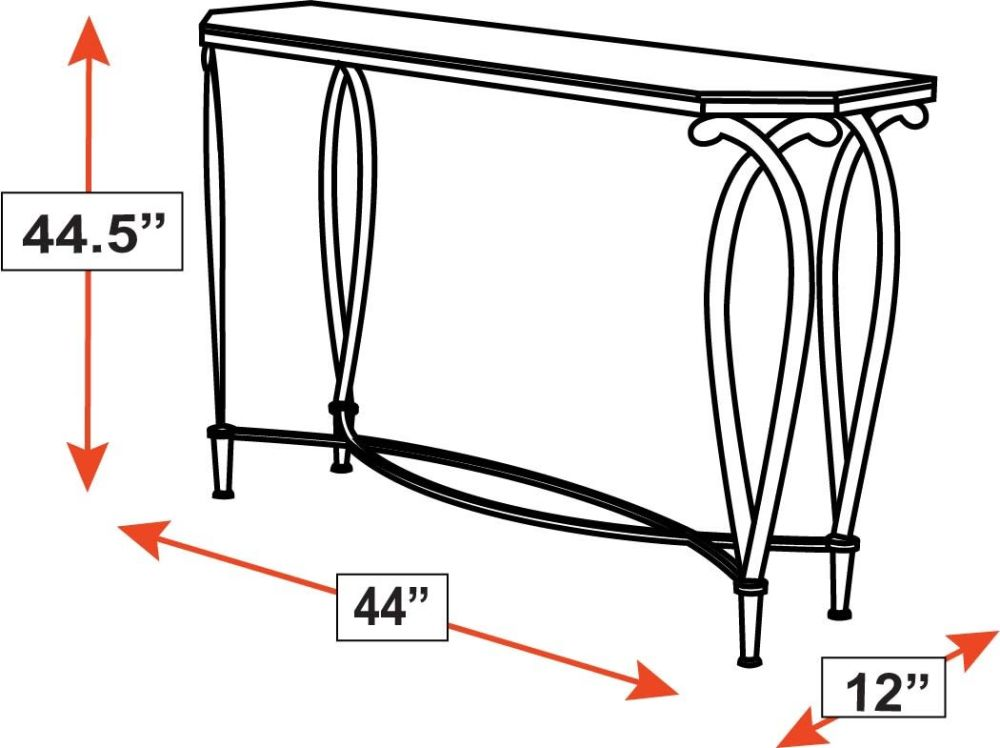 Grand Saline Gold Console Table w/Glass Top, , hi-res