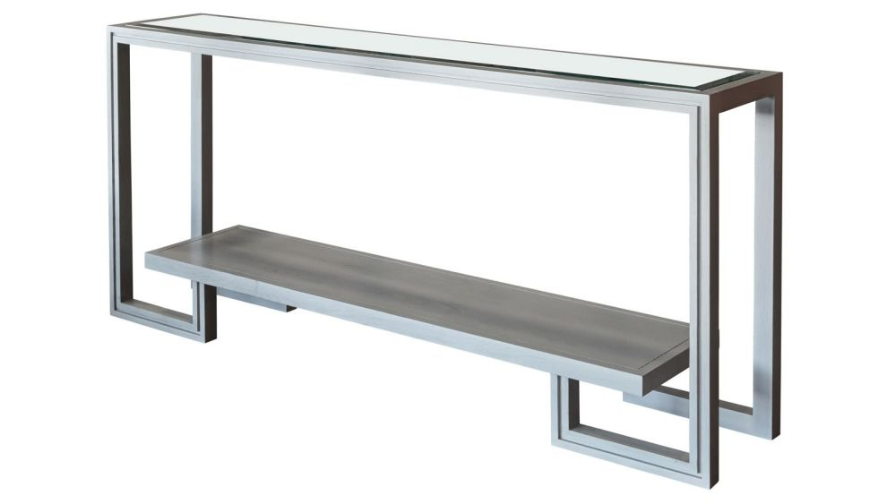 Presidio Fog Grey Console Table w/Glass Top, , hi-res
