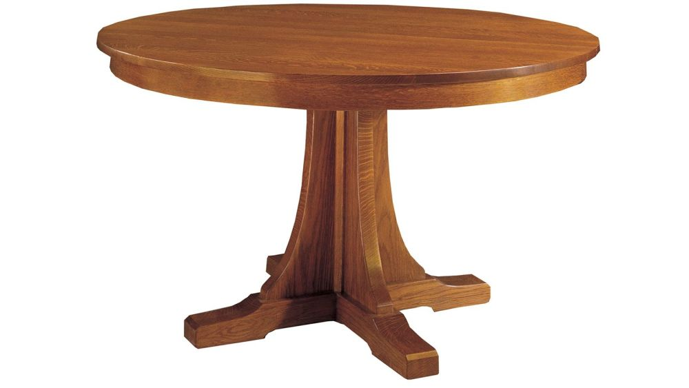 stickley craftsman round pedestal dining table with leaves. Black Bedroom Furniture Sets. Home Design Ideas
