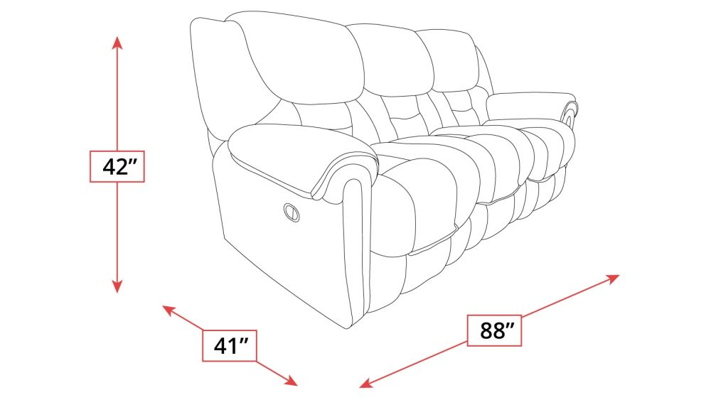 Del Mar Double Reclining Sofa Frame Drawing